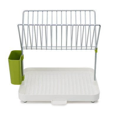 Y 2 Tier Self Draining Dish Rack Finish: White / Green