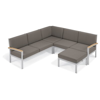 Farmington Aluminum Frame Arm Sectional with Cushion Finish: Natural Tekwood