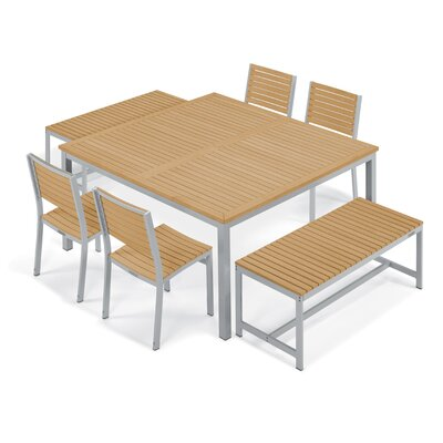 Farmington 7 Piece Aluminum Frame Dining Set with Leg End Caps Finish: Natural Tekwood