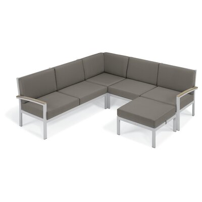 Farmington Aluminum Frame Arm Sectional with Cushion Finish: Vintage Tekwood