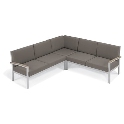 Farmington Water Resistant Arm Sectional with Cushion Finish: Vintage Tekwood