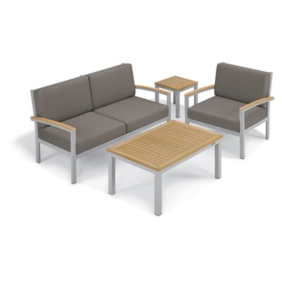 Farmington 4 Piece Aluminum Frame Deep Seating Group with Cushion Finish: Natural Tekwood