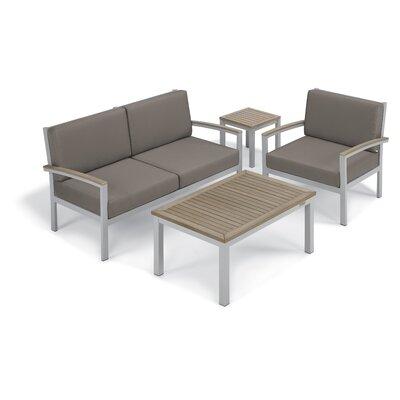 Farmington 4 Piece Aluminum Frame Deep Seating Group with Cushion Finish: Vintage Tekwood