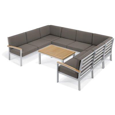 Farmington 7 Piece Aluminum Frame Deep Seating Group with Cushion Finish: Natural Tekwood