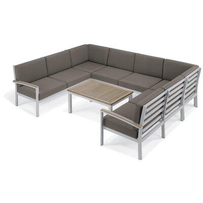 Farmington 7 Piece Aluminum Frame Deep Seating Group with Cushion Finish: Vintage Tekwood