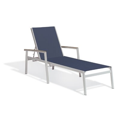 Farmington Single Chaise Lounge Finish: Teak, Fabric: Titanium