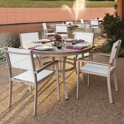 Farmington 5 Piece Tekwood Dining Set with Stackable Chairs Finish: Vintage