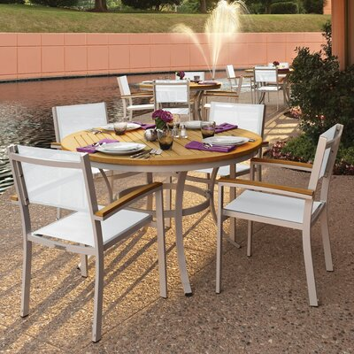 Farmington 5 Piece Tekwood Dining Set with Stackable Chairs Finish: Natural