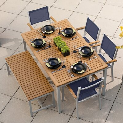 Farmington 6 Piece Aluminum Frame Dining Set Finish: Natural