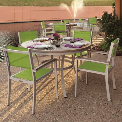 Farmington 5 Piece Dining Set with Green Sling Back chairs Finish: Vintage