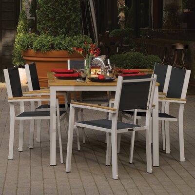 Farmington 7 Piece Aluminum Frame Dining Set Finish: Natural
