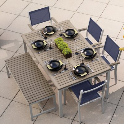 Farmington 6 Piece Aluminum Frame Dining Set Finish: Vintage