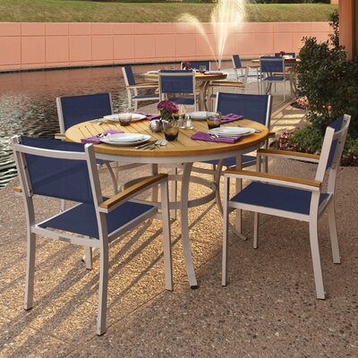 Farmington 5 Piece Powder Coated Aluminum Frame Dining Set Finish: Natural Teakwood