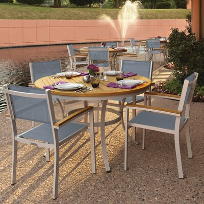 Farmington 5 Piece Dining Set with Titanium Sling Back Chairs Finish: Natural