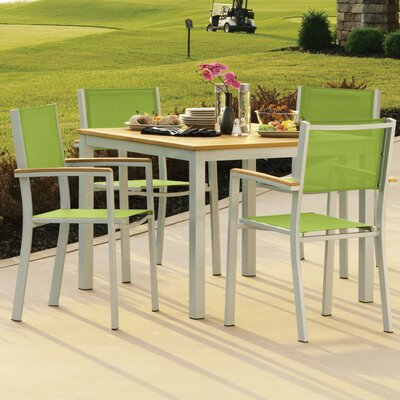 Farmington 5 Piece Dining Set with Stackable Chairs Finish: Natural Tekwood