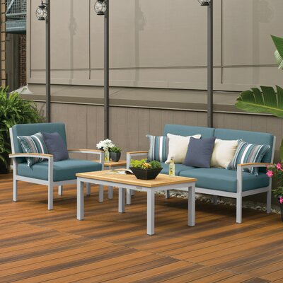 Farmington 4 Piece Water Resistant Deep Seating Group with Cushion Finish: Natural Tekwood, Fabric: Ice Blue