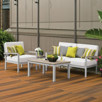 Farmington 4 Piece Water Resistant Deep Seating Group with Cushion Finish: Vintage Tekwood, Fabric: Eggshell White