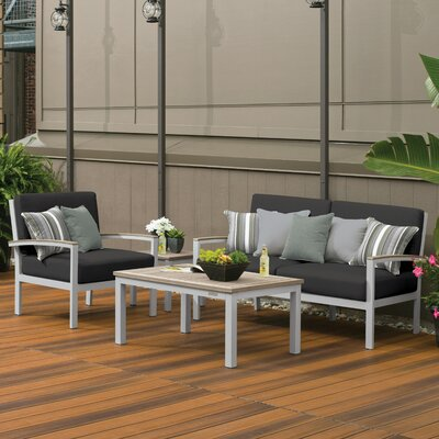 Farmington 4 Piece Water Resistant Deep Seating Group with Cushion Finish: Vintage Tekwood, Fabric: Jet Black