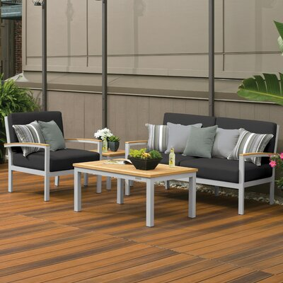 Farmington 4 Piece Water Resistant Deep Seating Group with Cushion Finish: Natural Tekwood, Fabric: Jet Black