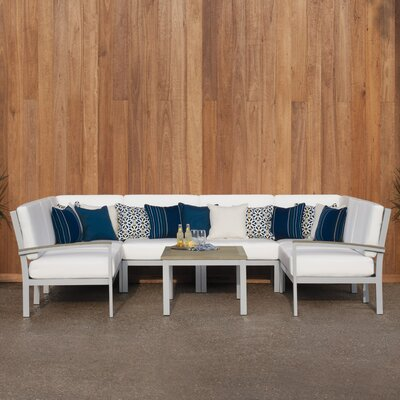 Travira 7 Piece Deep Seating Group with Cushion Finish: Vintage Tekwood, Fabric: Eggshell White