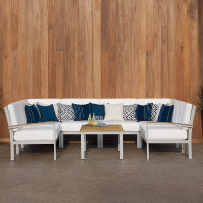 Farmington 7 Piece Deep Seating Group with Cushion Finish: Natural Tekwood, Fabric: Eggshell White