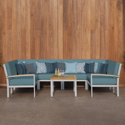 Farmington 7 Piece Deep Seating Group with Cushion Finish: Natural Tekwood, Fabric: Ice Blue