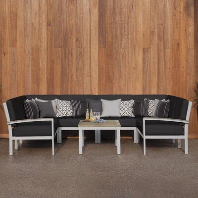Farmington 7 Piece Deep Seating Group with Cushion Finish: Vintage Tekwood, Fabric: Jet Black