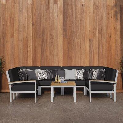 Travira 7 Piece Deep Seating Group with Cushion Finish: Natural Tekwood, Fabric: Jet Black