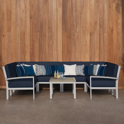 Travira 7 Piece Deep Seating Group with Cushion Finish: Vintage Tekwood, Fabric: Midnight Blue