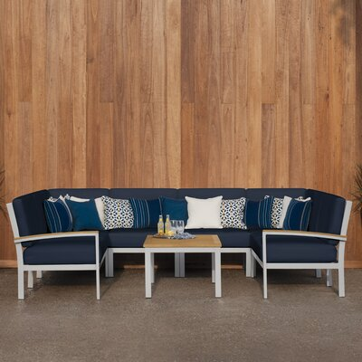 Travira 7 Piece Deep Seating Group with Cushion Finish: Vintage Tekwood, Fabric: Ice Blue