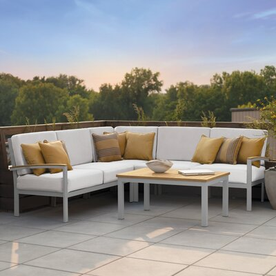 Travira 4 Piece Deep Seating Group with Cushion Finish: Natural Tekwood, Fabric: Eggshell White