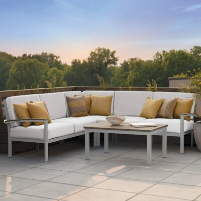 Farmington 4 Piece Deep Seating Group with Acrylic Cushion Fabric: Eggshell White, Finish: Vintage Tekwood