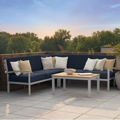 Farmington 4 Piece Deep Seating Group with Acrylic Cushion Finish: Natural Tekwood, Fabric: Midnight Blue