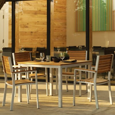Farmington 5 Piece Aluminum Frame Dining Set with Stackable Chairs