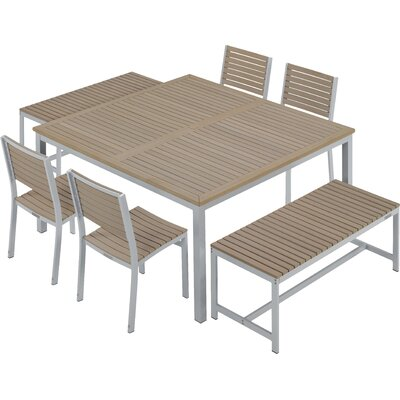 Farmington 7 Piece Aluminum Frame Dining Set with Leg End Caps Finish: Vintage Tekwood