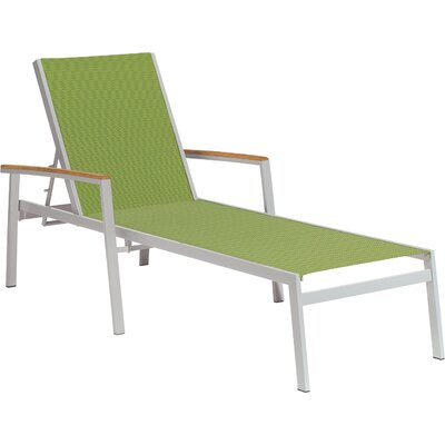 Farmington Chaise Lounge Finish: Teak, Fabric: Titanium