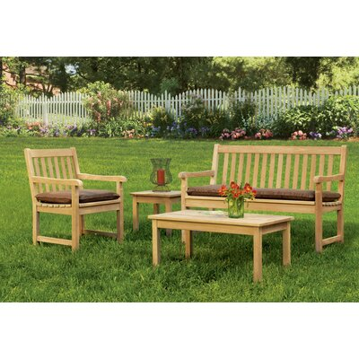 Coraline 4 Piece Deep Seating Group with Cushion Fabric: Dupione Walnut