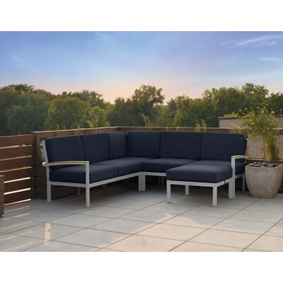Farmington Aluminum Frame Sectional with Cushions Fabric: Midnight Blue, Finish: Natural Tekwood