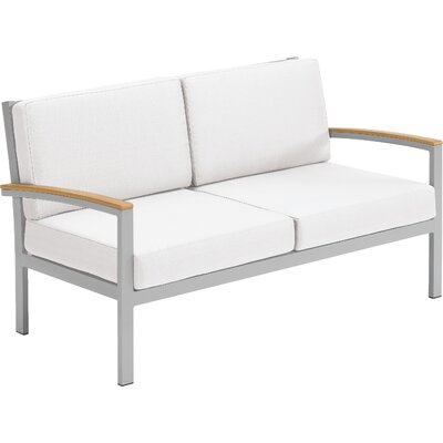 Farmington Loveseat with Cushions Finish: Natural Tekwood, Fabric: Jet Black