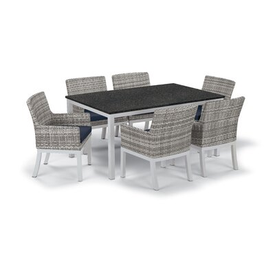 Farmington Wicker 7 Piece Dining Set Cushion Color: Midnight Blue, Finish: Ash