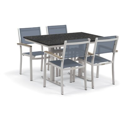 Farmington 5 Piece Dining Set Finish: Charcoal, Cushion Color: Natural