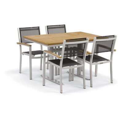 Farmington Contemporary 5 Piece Dining Set with Leg End Caps Cushion Color: Natural, Finish: Natural