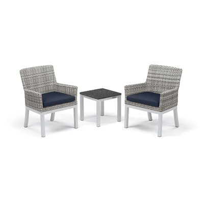 Travira 3 Piece Seating Group with Cushions Frame Finish: Charcoal, Fabric: Midnight Blue
