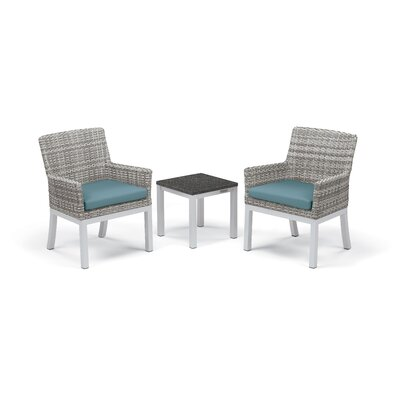 Travira 3 Piece Seating Group with Cushions Frame Finish: Charcoal, Fabric: Ice Blue