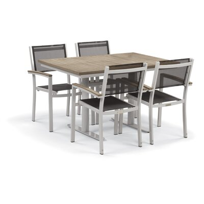Farmington Contemporary 5 Piece Dining Set with Leg End Caps Finish: Vintage, Cushion Color: Titanium