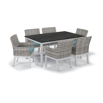 Farmington Wicker 7 Piece Dining Set Cushion Color: Ice Blue, Finish: Charcoal