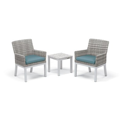Travira 3 Piece Seating Group with Cushions Fabric: Ice Blue, Frame Finish: Ash