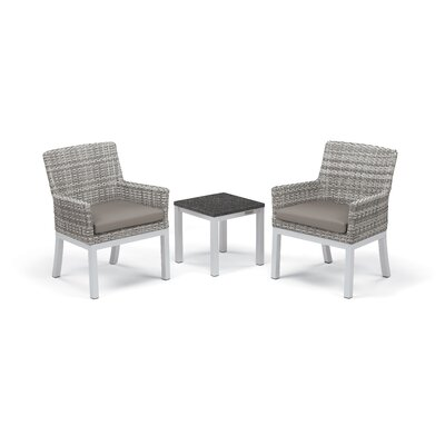 Travira 3 Piece Seating Group with Cushions Frame Finish: Charcoal, Fabric: Stone