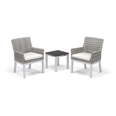 Travira 3 Piece Seating Group with Cushions Frame Finish: Charcoal, Fabric: Eggshell White