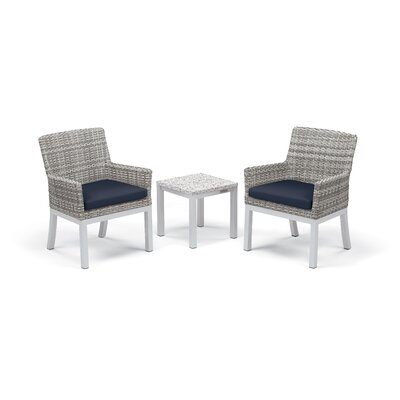 Travira 3 Piece Seating Group with Cushions Fabric: Midnight Blue, Frame Finish: Ash